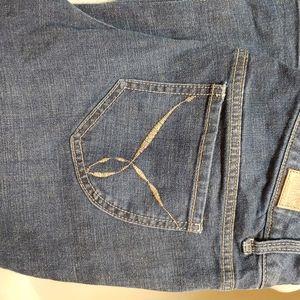😎Paris Blue Dark Blue Straight Leg Denim Jeans 15